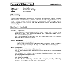 Restaurant Supervisor Job Description Resume Cover Letteror Supervisor Position No Experience Customer Services 42