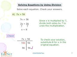 confidential 7 solving equations by using division solve each equation