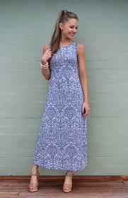 Summer Dress Patterns Impressive Boat Neck Maxi Dress Women's Blue Grey Floral Long Wool Maxi