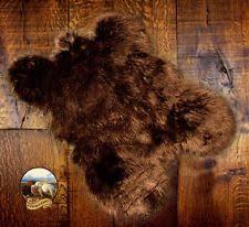 Brown Grizzly Bear Skin Faux Fur Pelt Hide Throw Rug Shag Sheepskin Area  Carpet