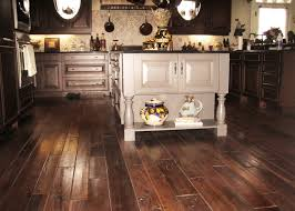 wide plank distressed reclaimed wood flooring tiles for small kitchen spaces with white island and oak cabinet painted with dark brown color ideas