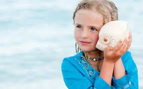 Image result for girl with a shell to her ear