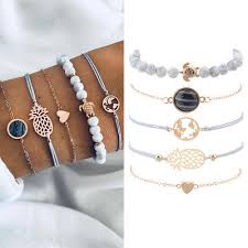 5PCS/Set <b>Boho</b> Sea <b>Turtle</b> Stone Bead <b>Heart</b> Bracelet Bangle Girls ...