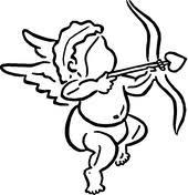 Schattige Cupido Met Pijl En Boog Vliegt Met Harten Kleurplaat