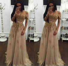 2018 Champagne Lace Beaded Tulle <b>Arabic Prom Dresses</b> ...