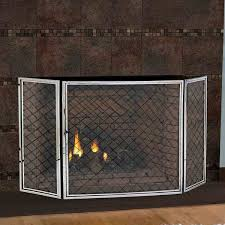 pilgrim 50 x 30 polished nickel hartwick tri panel fireplace screen