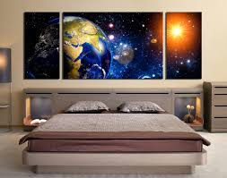 Modern Art Bedroom 3 Piece Photo Canvas Panoramic Space Canvas Wall Art Earth