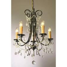 vintage dark green clear crystal french glass 5 light chandelier light