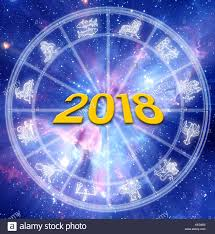 2018 Zodiac Chart Astrology Chart With Zodiac Signs And 2018 New Year Concept