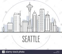 Seattle Cityscape Seattle City Skyline Towers And Landmarks Of Seattle