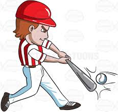 playing cartoon a baseball player hitting a ball with a bat cartoon clipart vector
