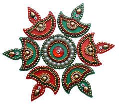 Kundan Rangoli Designs Small Acrylic Diya Small Rangoli Red And Green Pack Of 7 Buy