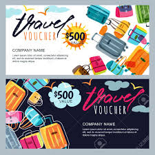 travel voucher template free vector gift travel voucher template multicolor luggage suitcase