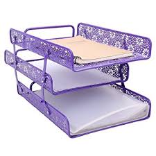 Purple Magazine Holder Amazon Crystallove Purple Metal Hollow 100Tier Document Tray 18