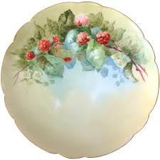 Haviland France Red Raspberries Hand-Painted Plate Artist Signed ...