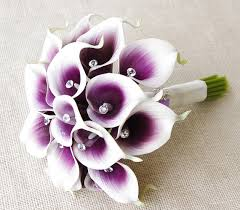 Artificial calla lilies <b>wedding bouquets purple</b> wedding party flowers ...