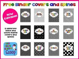 Free Editable Binder Covers And Spines Free 2013 2014 Editable Black And White Themed Teacher Binder Covers