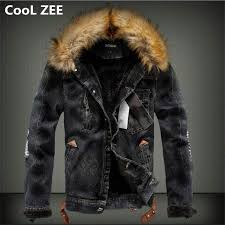 cool zee 2018 mens denim jacket with fur collar retro ripped fleece jeans jacket and coat