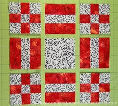 New Mexico Quilt Block: Pattern in 3 sizes & Lay out the 9-patches, Rail Fence units and cut square into three rows Adamdwight.com