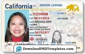 License Driving Editable Ca Psd California Template download