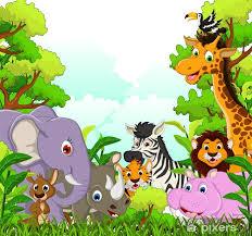 Poster Schattige dieren wilde dieren cartoon met bos achtergrond • Pixers®  - We leven om te veranderen