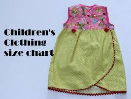 Children S Clothing Size Chart Measurements And Size Chart For Sewing Childrens Clothing