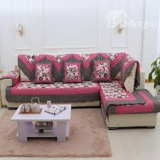rose red flower print with grey edge slip resistant country style sofa covers