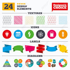 Banner Tags Stickers And Chart Graph Electric Plug Icon Fluorescent