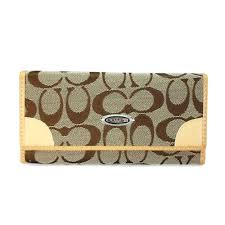 Coach Legacy Slim Envelope Large Khaki Wallets EET