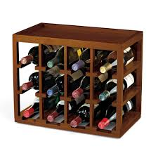 12 bottle cube stack wine rack in walnut stain mahogany wood easy assemble