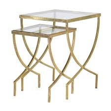 glass nesting coffee tables cannes gold glass nest of side tables