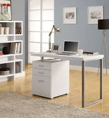 small modern computer desk with file drawer in white or cappuccino