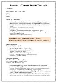 Technical Trainer Resume Corporate Trainer Resume Template Macrobutton Dofieldclick Your