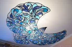 lamps handmade livemaster handmade stained glass chandelier blue bird