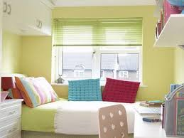 Colorful And Comfortable Small Bedroom With White Furniture Set And Lime  Green Wall Paint Color