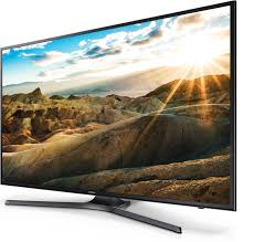 samsung 50 inch smart tv. a right perspective angle of samsung uhd tv with bright landscape onscreen image. 50 inch smart tv