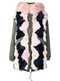 mr mrs italy colour block fur parka coat green