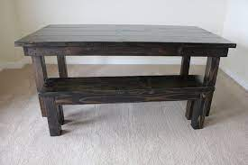 So he bought a $40 skill saw, some stain, and wood and built a coffee table in his garage. Learn About James And James Furniture Staining Furniture Rustic Solid Wood Dining Table Furniture