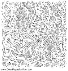 native american coloring page free printable