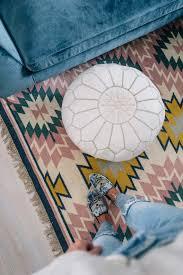 jess ann kirby steve madden velvet slides lulu and georgia painted desert rug