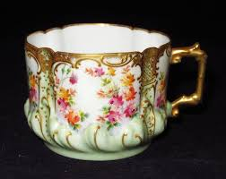 Decorative Cups And Saucers Limoges France P Fils Colorful Flowers Green Gold Trim 23