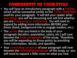 compare contrast essay ppt video online  components of your essay