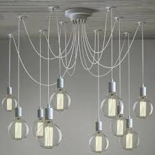 gracefully white light industrial style multi led pendant swag lighting chandelier wire