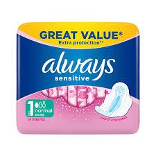 <b>Always Sensitive Normal Ultra</b> Sanitary Towels Wings 14 Pads ...