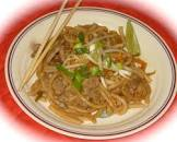 beef pad thai with peanut sauce   asian noodles