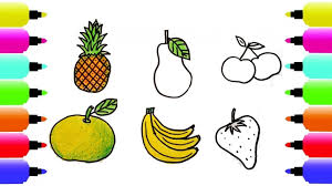 How To Draw Fruits Coloring Pages Kids Learn Drawing Art Colors