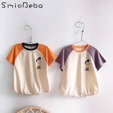 <b>Baby Unisex</b> Cartoon Girls Rompers Short Sleeve <b>Korean</b> Japan ...