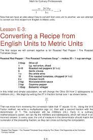 Culinary Math Conversion Chart Converting English And Metric Recipes Pdf Free Download