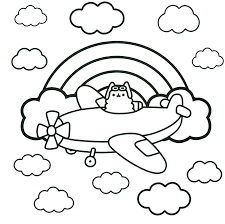 Pusheen Coloring Pages Pusheen Pusheen Coloring Pages Airplane