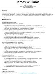 Resume Sample For Restaurant Top Restaurant Strategic Plan Sample Restaurant Manager Resume 23